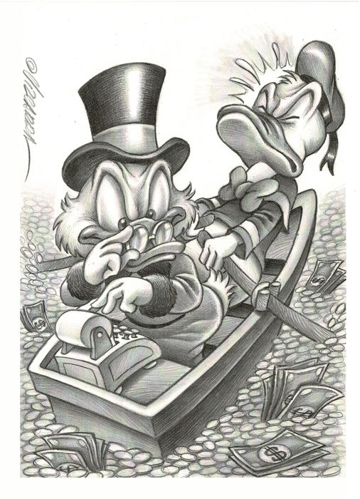 Uncle Scrooge & Donald Duck Counting Money - H. C. Artist Proof - Vizcarra Signed - Prima edizione