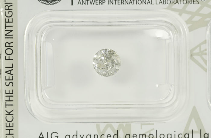 0.65ct Round brilliant diamond H-I1   AIG certified and sealed. -NO RESERVE-