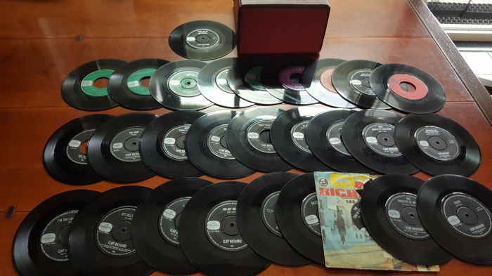 "Cliff Richard - Lot of 26 7"" singles and 2 7"" EP's of Cliff Richard in sixties box"