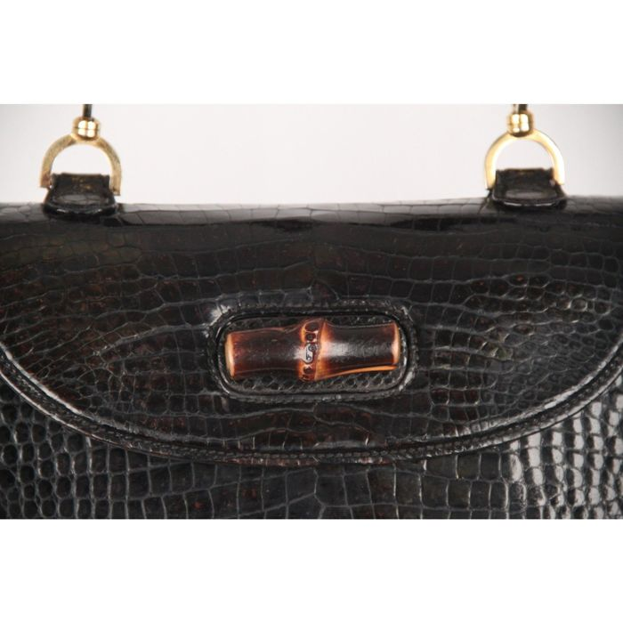 12334aed Gucci - Black Crocodile leather Bamboo Bag Top Handle - Vintage ...