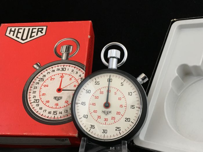 Heuer Cockpit Timer / Lap Timer -- Patina White&Red dial -- Incl. Box -- Mint Condition