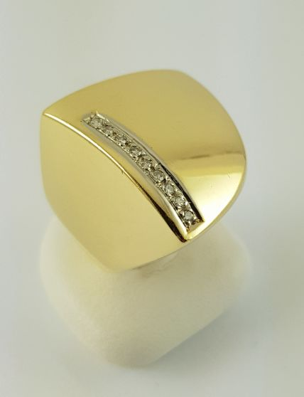 Diamant-Ring - 750er Gelb-Gold - 9 Diamanten - Ring-Gr.: 56