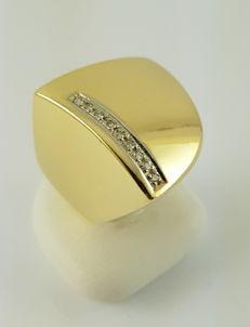Diamond ring - 750 yellow gold - 9 diamonds - ring size: 56