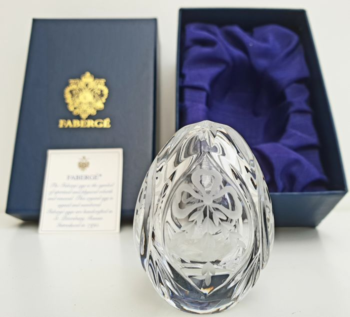 """House of Faberge Imperial Collection - Imperial Signed """"Jubilee"""" Crystal egg with serial number"""