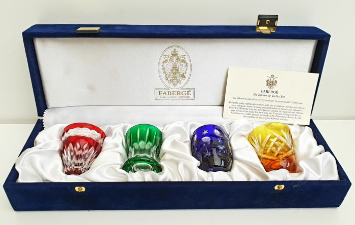 Fabergé Imperial Collection - Na Zdorovye Vodka Fabergé Crystal Set of 4 -with certificate of Authenticity