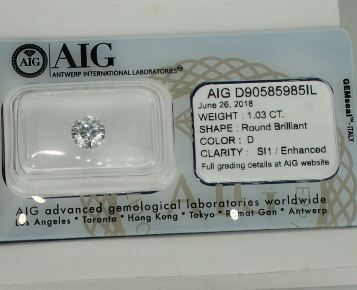 AIG 1.03ct D SI1 Round Natural Diamond 3 x EX ***LOW RESERVE PRICE***