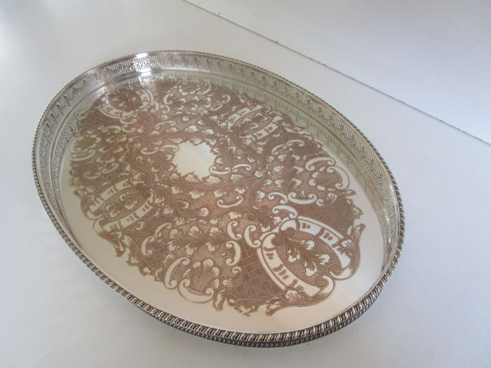 Large Silver Plated Gallery Tray, Viners of Sheffield, ca 1930, England