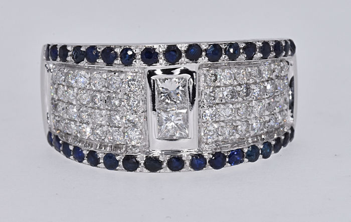 1.89 Ct Sapphires with Diamonds, modern ring NO RESERVE price!
