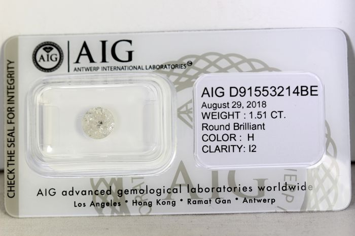 AIG Antwerp Diamond - 1.51 ct - H , I2