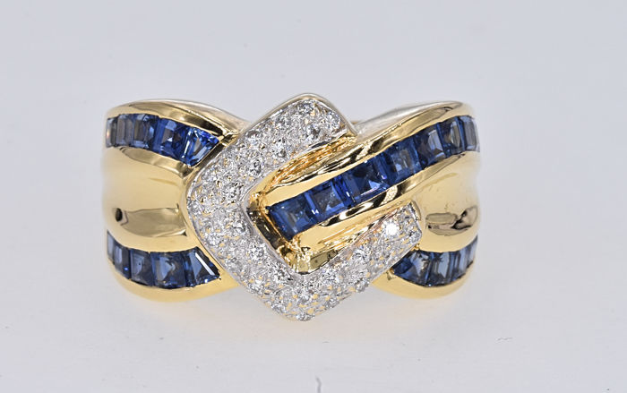 1.81 Ct Blue Sapphires with Diamonds ring NO RESERVE price!