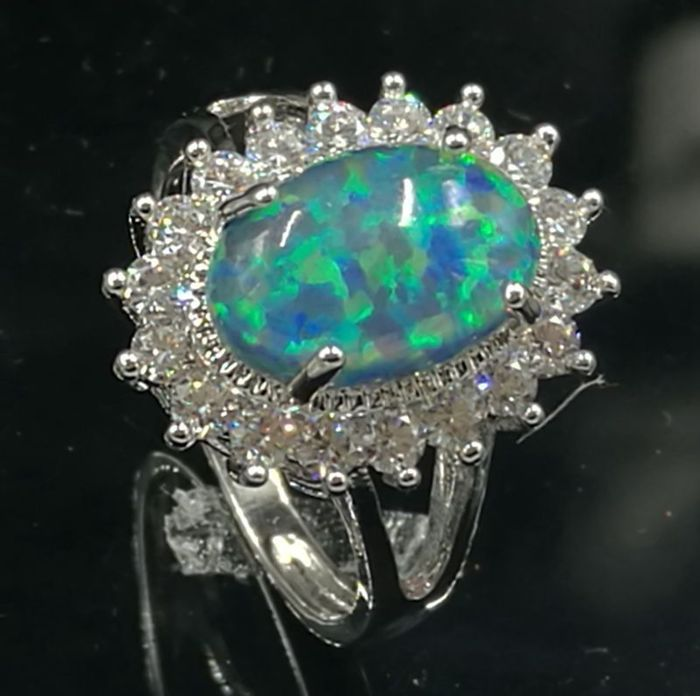Marked 925 Solid Sterling Silver Cocktail Ring with large oval Australian Fire Opal Greenish Blue Cabochon in Crystal crown - NO RESERVE