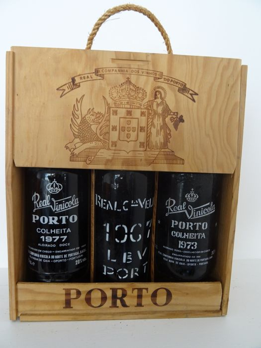 1967 Late Bottled Vintage Port - Real Companhhia Velha & 1973 Colheita Port - Real Vinicola - bottled in 1981 & 1977 Colheita Port - Real Vinicola - bottled in 1986 - 3 bottles in total