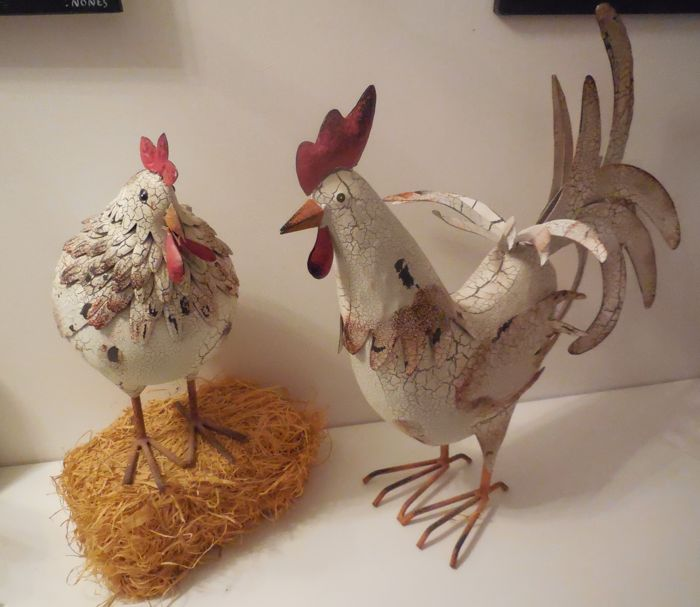 Couple of a rooster with its chicken in wrought iron 50 cm