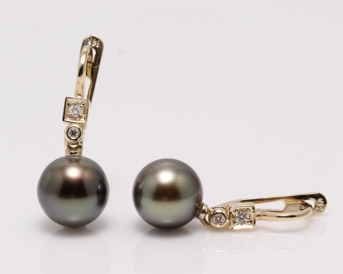 9x10mm Round Tahitian Pearls Crafted in 14K YG with 0.07Ct Diamonds - No Reserve Price