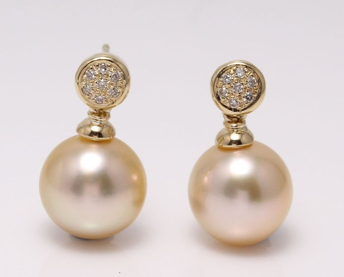 14K Yellow Gold Earrings Featuring 0.11Ct Diamonds and Lustrous Golden South Sea Pearls of 11x12mm - No Reserve Price