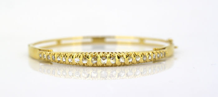 with diamonds, 1880's - Antique Victorian 15k yellow gold ladies bangle