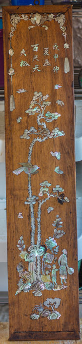 "Decorative panel in wood inlaid with ""burgauté"" mother-of-pearl - Vietnam - 19th century"