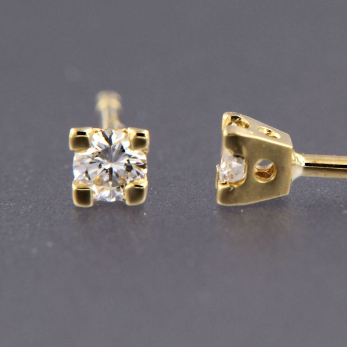 Earrings - Gold - Natural (untreated) - 0.12 ct - Diamond