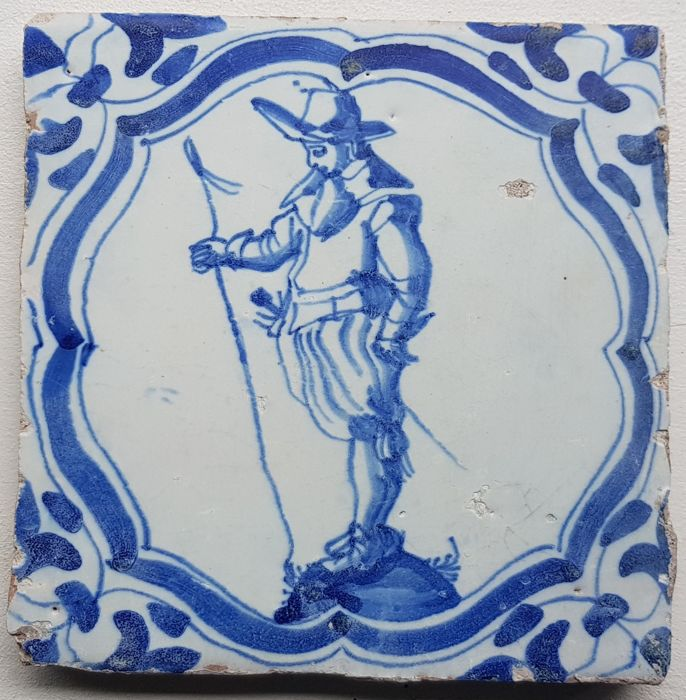 Tile with a soldier painted in detail