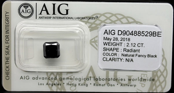 2.12 Cts Certified Natural Fancy Black Diamond -No reserve
