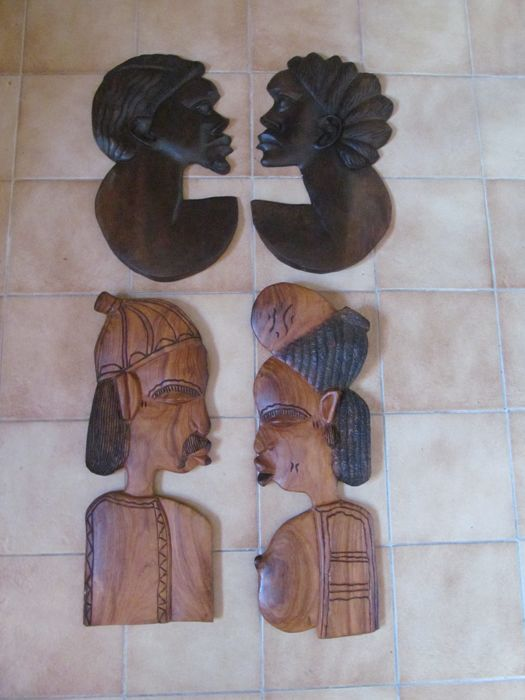 Four large wooden heads Africa - second half of the 20th century
