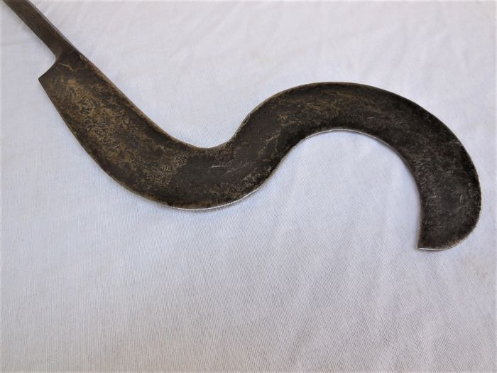 Old sickle blade/trumbasch of the Mangbetu with a hand