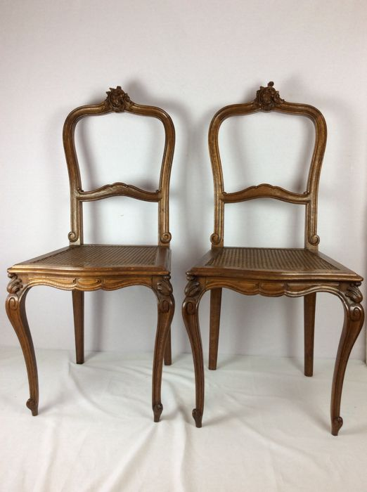 Two Sculpted Oak Regency Style Chairs With Fluted Seat Belgium First Half  Of The Furniture N24