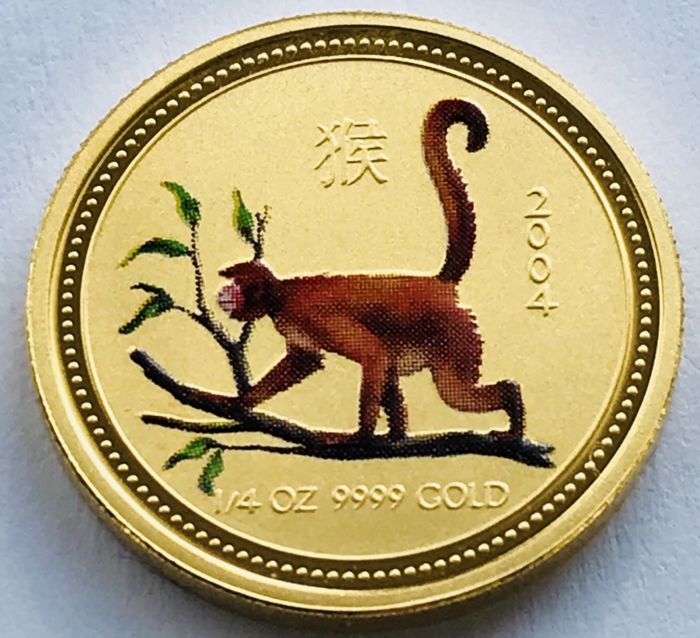 Australia - 25 Dollars 2004 - Year of the Monkey - Colored - 1/4 oz - Gold