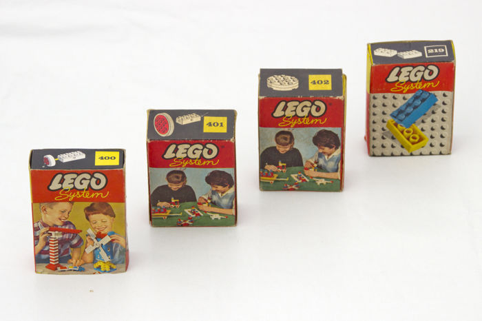 Vintage Lego Boxes 1960s Original Filling 400 401 402 Bricks And