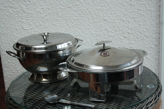 silver-plated chrome set with warm holder (Christmas) - glass / metal