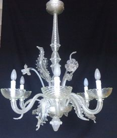 Hand/mouth blown Murano hanging lamp - six light-arms - 1930 - Murano - Italy