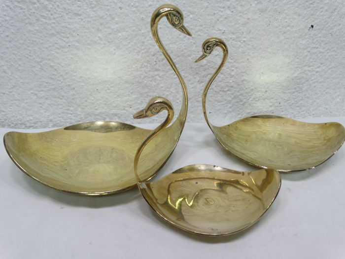 3 brass presentation bowls of swans