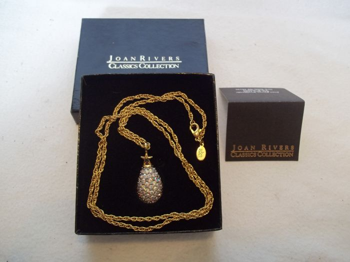 Joan Rivers© - Vintage - Classics Collection Faberge Star Egg Pendant and Necklace - 24 Carat gold-plated with about 100 bright  Austrian Crystals.