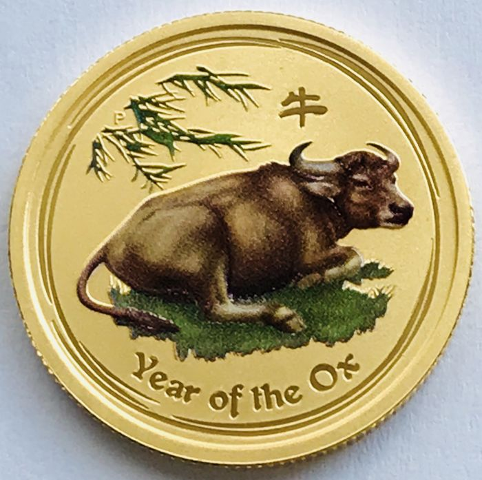 Australia - 25 Dollars 2009 Year of the Ox - colored 1/4 oz - Gold