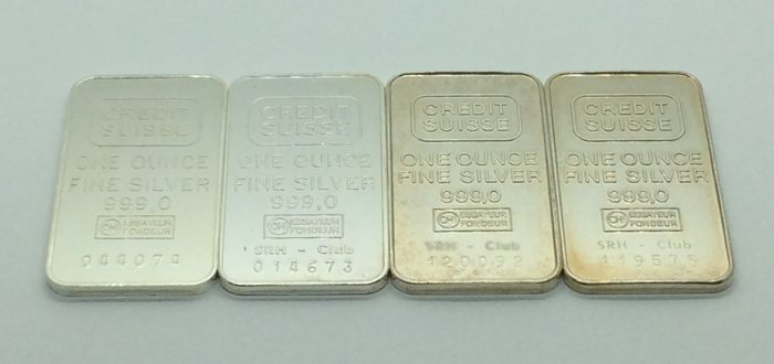 Credit Suisse - 4 x one ounce - 999/1000 - Minted silver bars