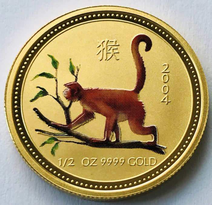 Australien - 50 Dollars 2004 - Year of the Monkey - Colored - 1/2 oz - Gold