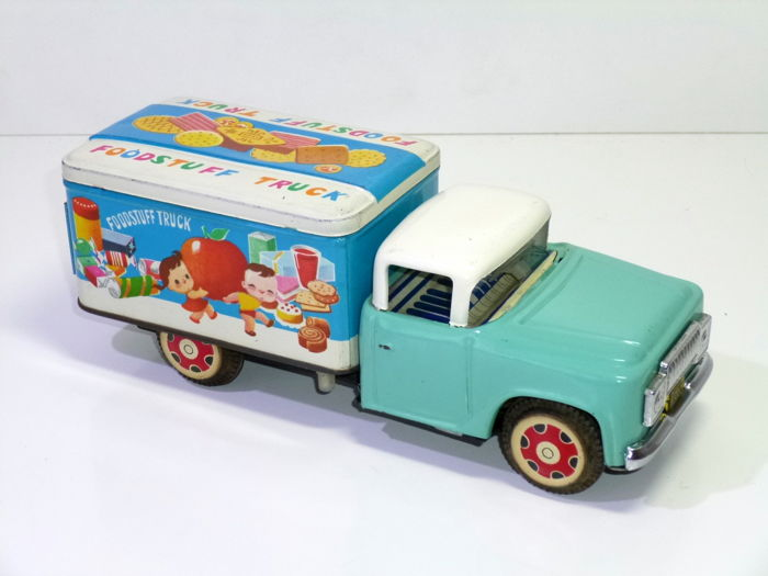 "Vintage 1960's Red China Shanghai Tin Toy MF 730 #  ""FOODSTUFF TRUCK"", friction"
