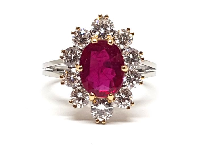 18 carats Or blanc - Bague - 2.70 ct Rubis - Diamant