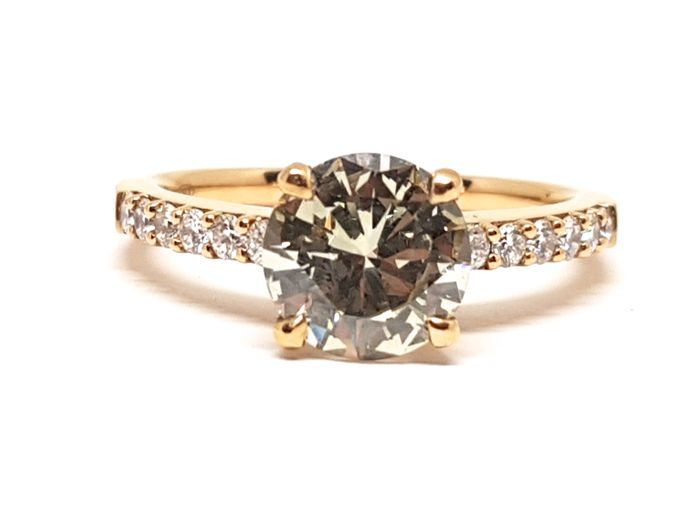 Natural Fancy Light Yellow Diamond Solitaire Ring 1.90ct., 18K Pink Gold - Ring Size 53 / 17.00mm / US 6.25 - AIG Certification