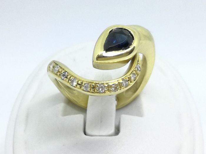 18 karaat - Ring Saffier - Diamant