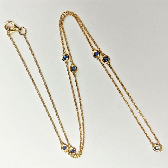 18 kt. Pink gold - Necklace - 0.34 ct Sapphire