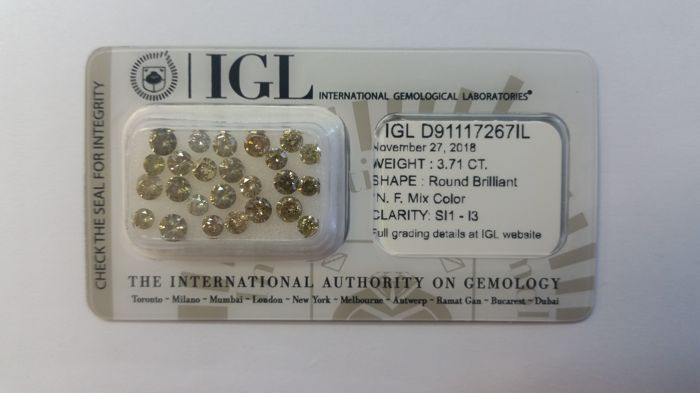 25 pcs Diamonds - 3.71 ct - brylantowy - Mix Color - SI1-I3