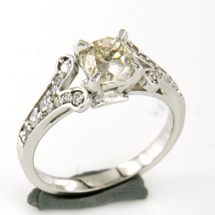 18 quilates Oro blanco - Anillo - 1.60 ct Diamante