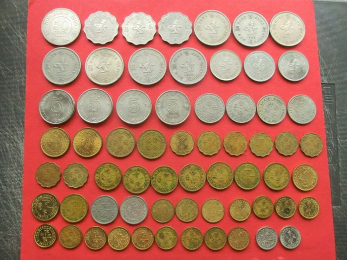 Hong Kong - Lot comprising 64 coins - 20th century - incl. 1905 'Edward VII' 50 Cents silver coin
