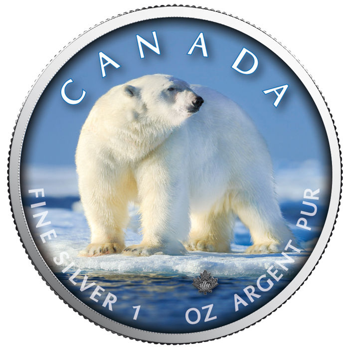 Canada - 5 Dollars 2019 - Maple Leaf Wildlife - Polar Bear - 1 oz - Zilver