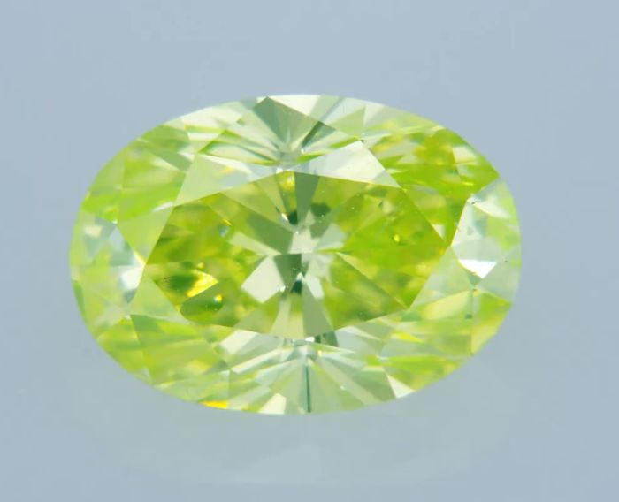 1 pcs Diamante - 1.46 ct - Ovalado - fancy vivid yellowish green - VS1