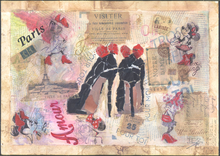 Minnie's Fashion Passion! - Original Mixed Media Artwork - Meb Dessin Hand Signed - Mixed Media Artwork