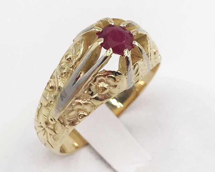 18 kt. White gold - Ring - 0.40 ct Ruby