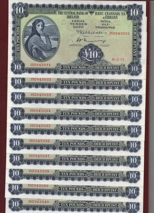 Ireland - 10 x 10 Pounds 1975 - Pick 66c - 10 consecutive numbers