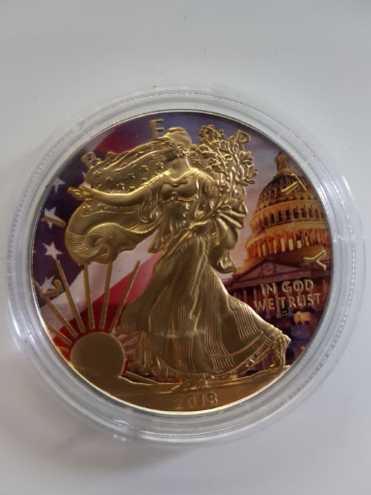 "USA - 1 Dollar 2018 Golden Noir - Silver Eagle ""Patriotic Flag"" Colorized & Gold Gilded - With Certificate & Seal 1 Oz - Silver"